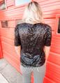 Sequins Pop Shoulder Top Black