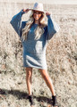 Cable Detail Dollan Sleeve Sweater Dress Grey CLEARANCE