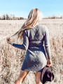 Cable Knit Sweater Dress Heather Grey