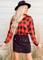 Easy Fit Loose Oversized Button Up Plaid Top Red