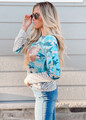 Camo Stripes and Sequins Patch Pocket Top
