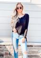 Amazing Details Button Up Crochet Lace Top Black
