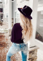 Long Sleeve Color Block Rib Knit Top Ivory/Black