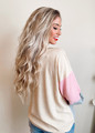 Thermal Waffle Color Block Puff Sleeve Top Pink/Grey