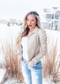 Most Amazing PU Ruched Button Down Jacket Beige