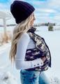Love Yourself Camo Puffer Zip Vest Black