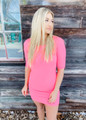 Fit for Spring 3/4 Sleeve Tunic/Dress Neon Pink