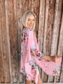 Open Front Sheer Flowy Floral Kimono Pink