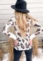 Leopard Print Hacci Cuff Band Trim Top White