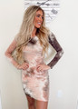 Casual Tie Dye Fitted Midi Dress Pink/Brown