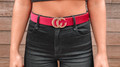 Faux Leather Snake Skin Belt Magenta