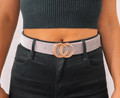 Faux Leather Snake Skin Belt Grey