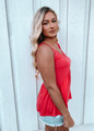 Sleeveless Knit Lace Trim Cami Coral