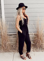 Chill Button Down Knit Pocket Cinched Drawstring Jumpsuit Black