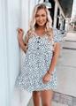 Button Down Polka Dot Spots Ruffle Dress White/Black
