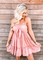 Amazing Details Bow Tube Top Ruffle Dress Pink