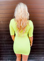 Fit for Spring 3/4 Sleeve Tunic/Dress Neon Lime CLEARANCE