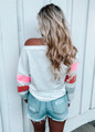 Long Sleeve Off Shoulder Color Block Slouchy Top Hot Pink