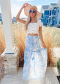 High Waist Elastic Spaghetti With Tassel Tier Tie-Dye Maxi Skirt Blue