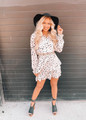 Boho Style in Dots Tiered Ruffle and Cinched Detail Dress White