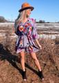 Amazing Floral Ruffle Tiered Layered Dress Grey