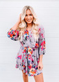 Amazing Floral Ruffle Tiered Layered Dress Grey CLEARANCE