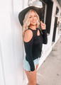 Jersey Knit Top With One Side Open Shoulder Black