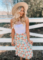 Spring Floral Ruffle High Low Skirt Beige