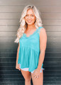 Sleeveless Knit Lace Trim Cami Turquoise