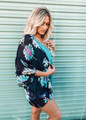 Loose Fit Floral Sheer Kimono Navy