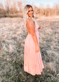 Whisk Me Away Lace Top Open Back Gathered Maxi Dress Blush