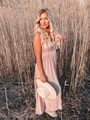 Whisk Me Away Lace Top Open Back Gathered Maxi Dress Oatmeal