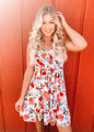 Amazing Details Bow Tube Top Ruffle Dress Floral