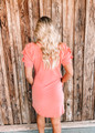 Gathered Detail Short Sleeves French Terry Dress Coral
