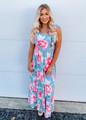 Ruffle Detail Top High Waist Floral Maxi Dress Sage