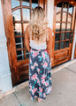 Keep You In Check Floral Maxi Skirt Navy/Turquoise