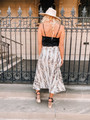 High Waist Snakeskin Print Flare Midi Skirt