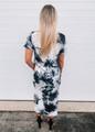 Marble Tie Dye Design Loose Fit Dress White/Black