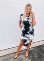 Marble Tie Dye Design Loose Fit Dress White/Black CLEARANCE