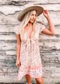 Splendid Summer Floral Tie Ruffle Sun Dress Pink