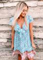 Splendid Summer Floral Tie Ruffle Sun Dress Blue