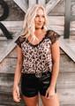 Exquisite Lace Detail Leopard Top Brown