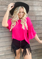 It's A Vibe Mineral Tie Dyed Fringe Top Fuchsia CLEARANCE
