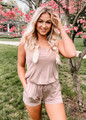 Too Good To Be True Cinched Tie Pocket Romper Mocha CLEARANCE