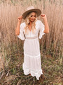 Perfection Lace Embroidery Bohemian Summer Sundress White CLEARANCE