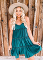 Ruched Tiered Ruffle Dress Green CLEARANCE