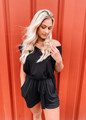 Time To Chill Tie Pocket Romper Black