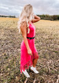 Mineral Dyed Fringed High Low Dress Fuchsia CLEARANCE