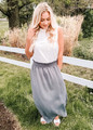 Smocking Waist Maxi Skirt with Side Pockets Charcoal CLEARANCE