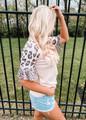 Leopard Ruffle Sleeve Waffle Knit Top